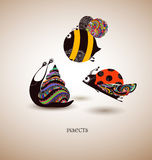Insects. Abstract hand drawn insects. Snail, ladybird and bee, illustration vector illustration