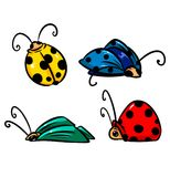 Insects beetles cartoon illustration Stock Image