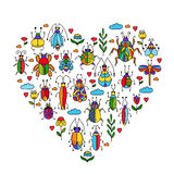 Insects bugs  beetles flowers doodles collection Stock Photo