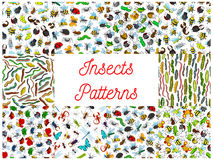 Insects and bugs cartoon pattern patterns Stock Photo