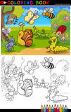 Insects and bugs for Coloring Book or Page. Coloring Book or Page Cartoon Illustration of Funny Insects and Bugs for Children Stock Image