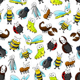 Insects and bugs seamless pattern background. Cartoon insects and bugs seamless pattern on white background with bee, ladybug, fly, dragonfly, caterpillar Royalty Free Stock Images