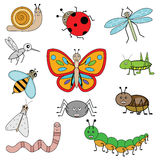 Insects in cartoon style. Vector illustration, design elements Stock Images
