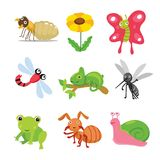 Insects character design stock illustration