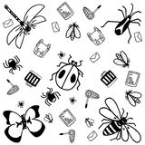Insects doodle for kids Stock Photo