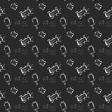 Insects doodle seamless pattern, background with bug, fly, butterfly, ladybug, dragonfly, wasp, centipede on black background stock illustration