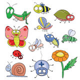 Insects doodle set Royalty Free Stock Images