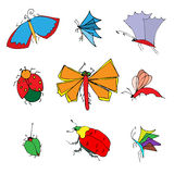 Insects doodle set. Vector illustration Royalty Free Stock Photo