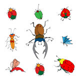 Insects doodle set. Vector illustration Stock Images
