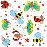 Insects drawing seamless pattern Stock Photography