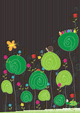 Insects Flowers Card_eps. Illustration of insects flowers card, top to write your green sample text Royalty Free Stock Image