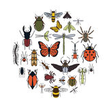 Insects icon flat style. 24 pieces in set. Colour version Royalty Free Stock Photography