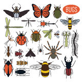 Insects icon flat style. 24 pieces in set. Colour version Royalty Free Stock Photos