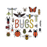 Insects icon flat style. 24 pieces in set. Colour version royalty free illustration