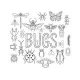 Insects icon flat style. 24 pieces in set. Outline version stock illustration