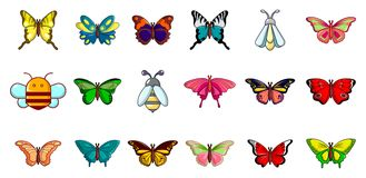 Insects icon set, cartoon style Royalty Free Stock Photography