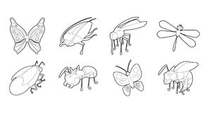 Insects icon set, outline style Stock Illustration