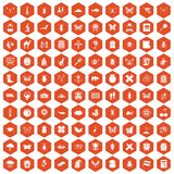 100 insects icons hexagon orange. 100 insects icons set in orange hexagon isolated vector illustration Stock Image