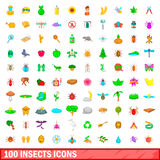 100 insects icons set, cartoon style Royalty Free Stock Photography
