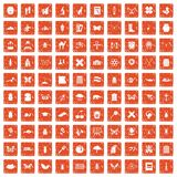 100 insects icons set grunge orange. 100 insects icons set in grunge style orange color isolated on white background vector illustration Royalty Free Stock Photos