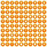 100 insects icons set orange. 100 insects icons set in orange circle isolated on white vector illustration Stock Image