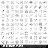 100 insects icons set, outline style Stock Photography