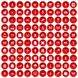 100 insects icons set red. 100 insects icons set in red circle isolated on white vector illustration Stock Photo