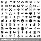 100 insects icons set, simple style. 100 insects icons set in simple style for any design vector illustration Stock Photography