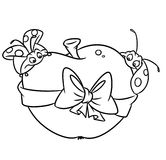 Insects ladybugs apple coloring pages Stock Image