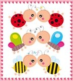 Insects in love. Illustration of ladybirds, butterflies and bees couple Stock Image