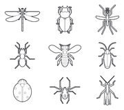Insects mono line icons vector set Royalty Free Stock Photo