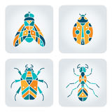 Insects mosaic icons. Set of 4 vector insects icons royalty free illustration