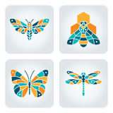 Insects mosaic icons. Set of 4 vector insects icons vector illustration