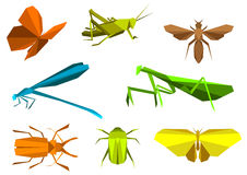 Insects in origami paper elements Stock Images