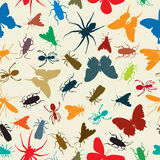 Insects pattern. Seamless background illustration with insects in colors Royalty Free Stock Photos