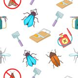 Insects pattern, cartoon style Royalty Free Stock Images