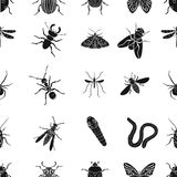Insects pattern icons in black style. Big collection of insects vector symbol stock illustration Stock Photo