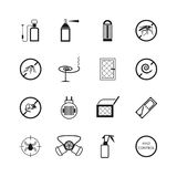 Insects and pest control vector pictograms. Pest insect mosquito, illustration of stop mouse Royalty Free Stock Photos