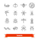 Insects and pest extermination thin line icons set. Insects and pest extermination thin line art icons set. Linear style symbols isolated on white Royalty Free Stock Photos
