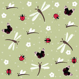 Insects seamless floral pattern Royalty Free Stock Photo