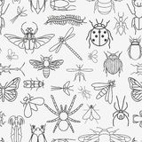 Insects seamless pattern. 24 pieces in set. Vector illustration Stock Photography