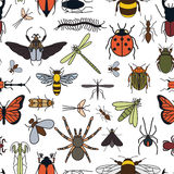 Insects seamless pattern. 24 pieces in set. Royalty Free Stock Images