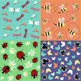 Insects seamless pattern set Stock Images