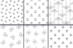 Insects seamless patterns collection. vector illustration