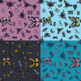 Insects seamless patterns set. Four color variations Royalty Free Stock Photo