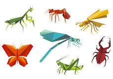 Insects Set In Origami Style Royalty Free Stock Images