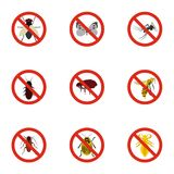 Insects sign icons set, flat style Royalty Free Stock Image