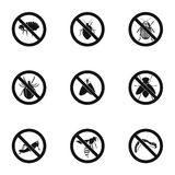 Insects sign icons set, simple style Royalty Free Stock Photography