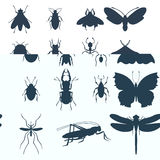 Insects silhouette icons isolated wildlife wing detail summer bugs wild vector illustration Stock Image