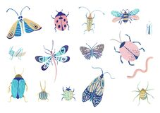 Insects Watercolor Isolated On A White Background. Embroidery Fashion Patch With Insects Illustration. Royalty Free Stock Image